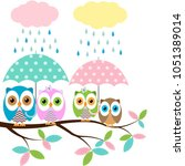 four colorful owls with... | Shutterstock .eps vector #1051389014