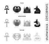 anubis  ankh  cairo citadel ... | Shutterstock .eps vector #1051389641