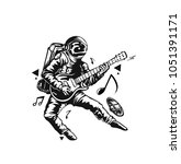 astronaut in playing guitar ... | Shutterstock .eps vector #1051391171
