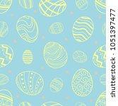 easter eggs in yellow outline... | Shutterstock .eps vector #1051397477