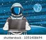 hooded hacker astronaut behind...   Shutterstock .eps vector #1051408694