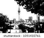 auckland downtown view with sky ... | Shutterstock .eps vector #1051410761