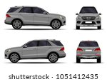 realistic suv car. front view ... | Shutterstock .eps vector #1051412435