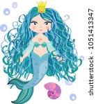 cartoon beautiful little... | Shutterstock .eps vector #1051413347