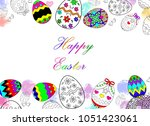 happy easter eggs drawing with...   Shutterstock . vector #1051423061
