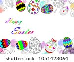 happy easter eggs drawing with... | Shutterstock . vector #1051423064