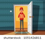 delivery guy handing a box on... | Shutterstock .eps vector #1051426811