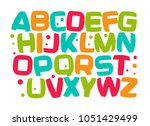 kids alphabet  colorful cartoon ... | Shutterstock .eps vector #1051429499