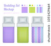 realistic single bed bedding...   Shutterstock .eps vector #1051429664