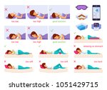 correct sleeping cartoon set of ... | Shutterstock .eps vector #1051429715