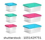set of plastic food containers... | Shutterstock .eps vector #1051429751