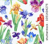 Flowers Of Iris. Watercolor...