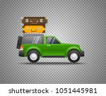 green car with baggage isolated ... | Shutterstock .eps vector #1051445981