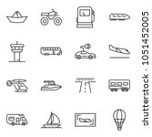 thin line icon set   paper ship ... | Shutterstock .eps vector #1051452005
