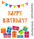 colorful birthday party card... | Shutterstock .eps vector #1051454591