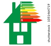 energy labels with green home... | Shutterstock .eps vector #1051464719
