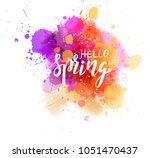 hello spring hand lettering... | Shutterstock .eps vector #1051470437