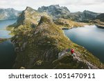 traveler alone with backpack... | Shutterstock . vector #1051470911