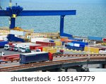 truck carries container to a... | Shutterstock . vector #105147779
