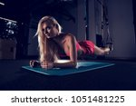 gorgeous blonde woman with long ... | Shutterstock . vector #1051481225