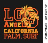 los angeles palm surf ... | Shutterstock . vector #1051506734