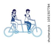 cute happy couple riding in... | Shutterstock .eps vector #1051507784