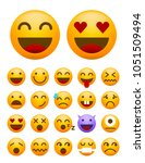 set of cute emoticons on white... | Shutterstock .eps vector #1051509494