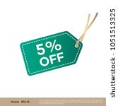 5  discount tag icon vector... | Shutterstock .eps vector #1051513325