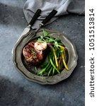 grilled beef steak with herb... | Shutterstock . vector #1051513814