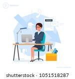 dismissal from work. woman... | Shutterstock .eps vector #1051518287