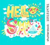 hello summer concept with... | Shutterstock .eps vector #1051519781