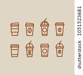 vector line icon set of coffee... | Shutterstock .eps vector #1051523681