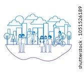 people characters landscape | Shutterstock .eps vector #1051526189