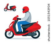 scooter and scooter driver in... | Shutterstock .eps vector #1051543934