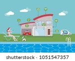 smart house technology and... | Shutterstock .eps vector #1051547357