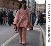 Small photo of MILAN, Italy- February 21 2018: Laura Comolli on the street before the Alberta Ferretti show during the Milan Fashion Week