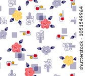 daisies pattern with decorative ... | Shutterstock .eps vector #1051549964