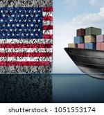 american trade barrier and... | Shutterstock . vector #1051553174