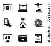 3d computer printer icon set....