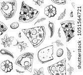 pizza seamless pattern. hand... | Shutterstock .eps vector #1051564721