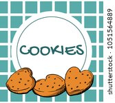cookies label on checkered... | Shutterstock .eps vector #1051564889