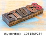 ethics word abstract in vintage ...   Shutterstock . vector #1051569254