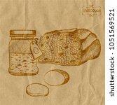 a jar with sourdough potatoes... | Shutterstock .eps vector #1051569521