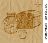 a jar with sourdough beer next... | Shutterstock .eps vector #1051569527