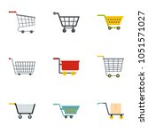 market wheel cart icon set.... | Shutterstock . vector #1051571027
