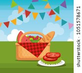 picnic party celebration scene | Shutterstock .eps vector #1051578671