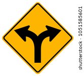 fork in road traffic sign...   Shutterstock .eps vector #1051585601