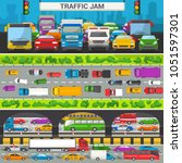 traffic jam vector transport... | Shutterstock .eps vector #1051597301