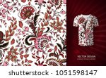 seamless floral background.... | Shutterstock .eps vector #1051598147