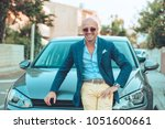 cheerful italian young man... | Shutterstock . vector #1051600661